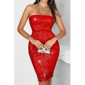 Lovely Party  Sequined Red Knee Length Dress
