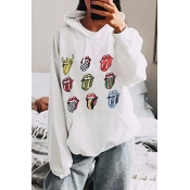 Lovely Casual Lip Print White Hoodie
