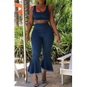 Lovely Stylish Crop Top Flounce Blue Two-piece Pan