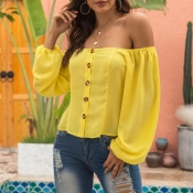 Lovely Chic Button Design Yellow Shirt