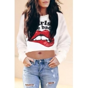 Lovely Casual Crop Top Lip Print White Hoodie