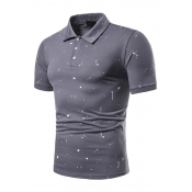 Lovely Casual Print Light Grey  Polo Shirt