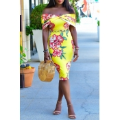 Lovely Bohemian Print Skinny Yellow Knee Length Dr