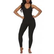 Lovely Stylish Backless Skinny Black One-piece Jum