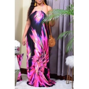Lovely Bohemian Halter Print Loose Purple Maxi Dre