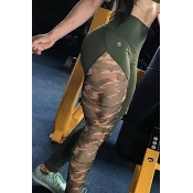 Lovely Casual Camo Print Patchwork Pants