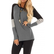 Lovely Chic Button Grey T-shirt