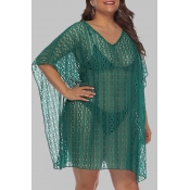 Lovely Chic See-through Green Plus Size Beach Blou