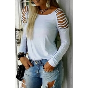 Lovely Casual Hollow-out White T-shirt