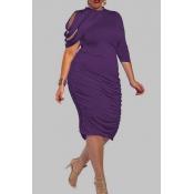 Lovely Trendy Ruffle Design Purple Knee Length Plu