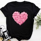 Lovely Casual Heart Black T-shirt