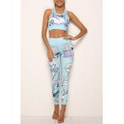 Lovely Casual U Neck Print Blue Two-piece Pants Se