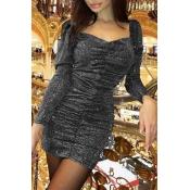 Lovely Chic Fold Design Grey Mini Dress