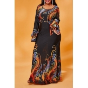 Lovely Casual Print Black Maxi Plus Size Dress