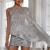 Lovely Sexy Backless Silver Two-piece Skirt Set