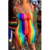 Lovely Chic Rainbow Striped Multicolor One-piece R