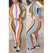 Lovely Chic Striped Multicolor Two-piece Pants Set