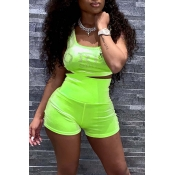 Lovely Leisure Basic Green Two-piece Shorts Set