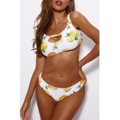 Lovely Off The Shoulder Print Two-piece Swimsuit