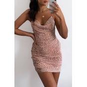 Lovely Sexy Leopard Print Pink Mini Dress