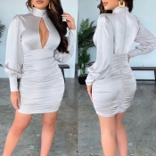 Lovely Chic Hollow-out Fold Design Grey Mini Dress