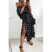 Lovely Trendy Dot Print Black Mid Calf Dress