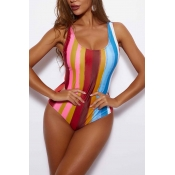 Lovely Multicolor Striped Print One-piece Swimsuit
