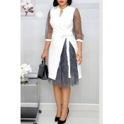 Lovely Sweet Patchwork White Knee Length Dress