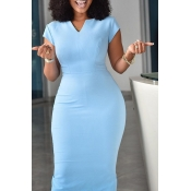 Lovely Work V Neck Skinnt Baby Blue Knee Length Dr