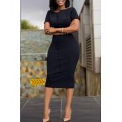 Lovely Work Basic Button Black Knee Length Dress