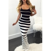 Lovely Chic Striped Skinny Black Maxi Dress