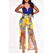 Lovely Leisure Print Yellow One-piece Jumpsuit