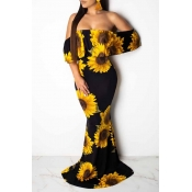 Lovely Sweet Dew Shoulder Print Yellow Maxi Dress