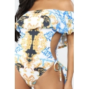 Lovely Hollow-out White Plus Size One-piece Swimsu