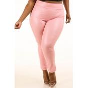 Lovely Sexy Skinny Light Pink Plus Size Pants
