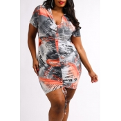 Lovely Bohemian Letter Print Grey Plus Size Mini D