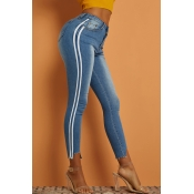 Lovely Casual Striped Basic Blue Jeans