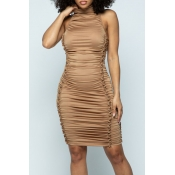 Lovely Party Fold Design Coffee Knee Length Dress