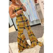 Lovely Lovelywholesale Casual Striped Print Yellow One-piece Jumpsuit