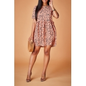 Lovely Casual Print Pink Mini Dress