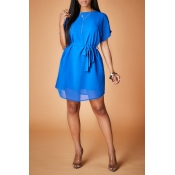 Lovely Casual Lace-up Blue Mini Dress