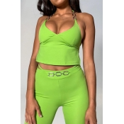 Lovely Chic Backless Green Two-piece Pants Set