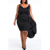 Lovely Chic Fold Design Black Knee Length Plus Siz