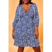 Lovely Chic Print Drawstring Blue Knee Length Plus