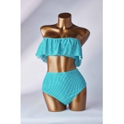 Lovely Flounce Green Two-piece Swimsuit