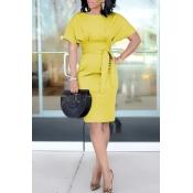 Lovely Chic Knot Design Yellow Knee Length Evening Dress
