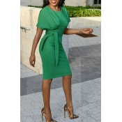 Lovely Chic Knot Design Green Knee Length Evening Dress