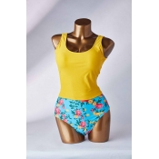Lovely Floral Print Yellow Two-piece Swimsuit