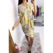 Lovely Leisure Print Loose Yellow  Mini Dress
