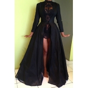 Lovely Party Mandarin Collar Black Prom Dress